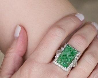 Vintage Jade and Diamond Ring in Platinum