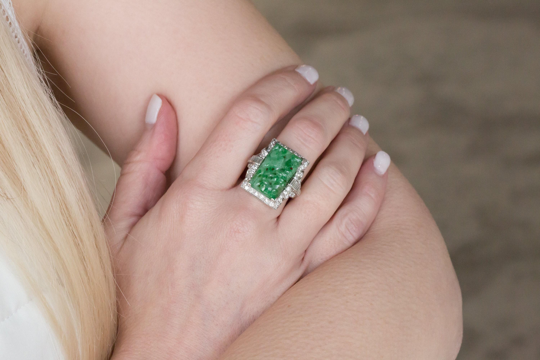 Vintage Jade and Diamond Ring in Platinum | Etsy
