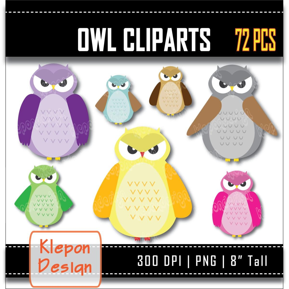72 Owl Clipart INSTANT DOWNLOAD 300 dpi png files 8   Etsy