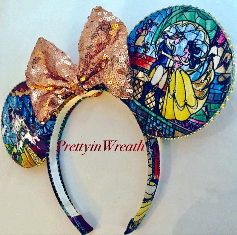 Beauty and the Beast inspired Mickey Mouse ears headband image 0