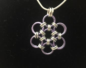 Purple Japanese Flower Chainmaille Necklace
