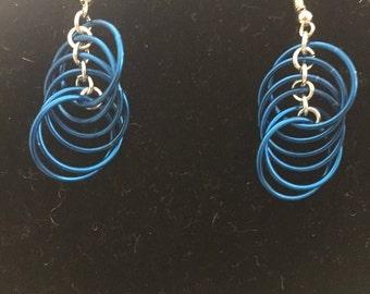 Teal Spiral Earrings