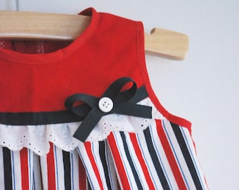 Nora Dress: 3-6 months, red white and blue july 4th dress with ribbon eyelet button