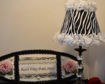 Alice free lamp etsy zebra shade table lamp with white rose organza trimoriginal shady lady shades by alice aloadofball Choice Image