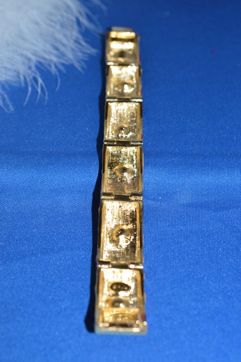 Vintage Kenneth Jay Lane Tiger Stripe Bangle Bracelet With AMBER CRYSTALS Signed KJL  Rare Show Stopper