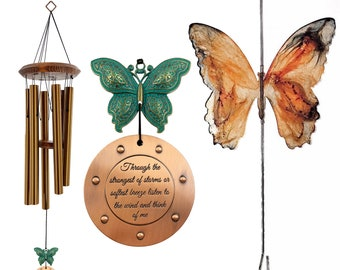 Memorial Butterfly Wind Chime 26 inch Rustic Custom Gift with Hanger After Loss In Memory of Sympathy Gift Broken Limb Garden Gift