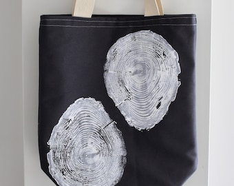 Tree Print Canvas Tote Bag - Navy Blue - One of a Kind