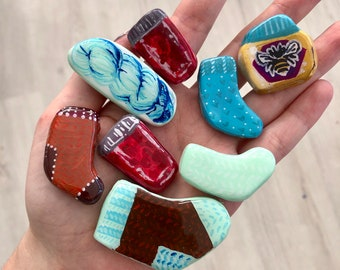Hand Painted Polymer Clay Pin or Magnet - One of a Kind - Resin Coated