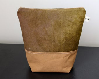 Medium Wool Felt Bag with Pockets - Olive Green + Brown Canvas - one of a kind