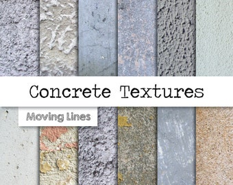 Concrete Texture Digital Paper, Grunge Stone, Distressed Background, Stucco Wallpaper, Plaster Wall 300 dpi 12 JPG files