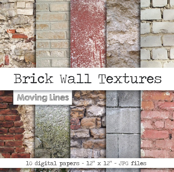 Contrast Between Stone And Plaster Finish: Brick Wall Digital Paper Pack Shabby Stone Background
