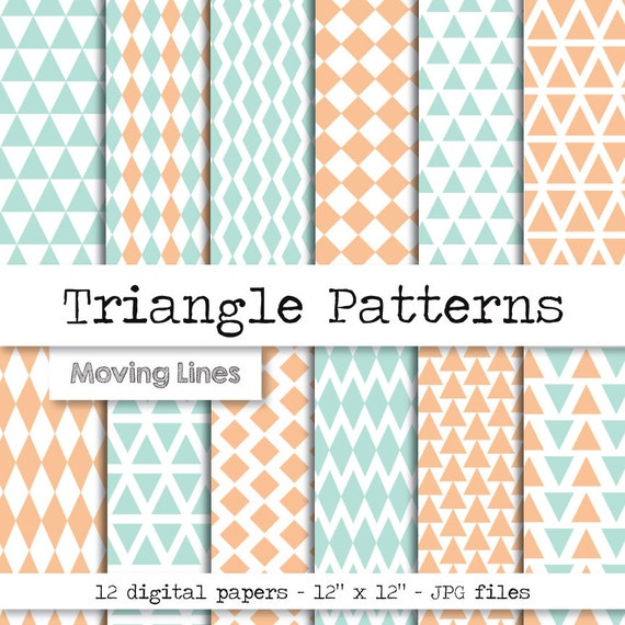 Geometric Digital Papers Triangles Boy And Girl Newborn Etsy