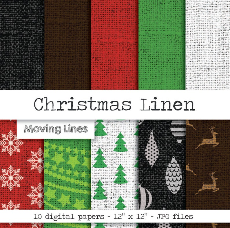 Ornament Linen Burlap Background Snowflake Holiday Party Decorations Christmas Digital Backdrop Deer Gift Wrap