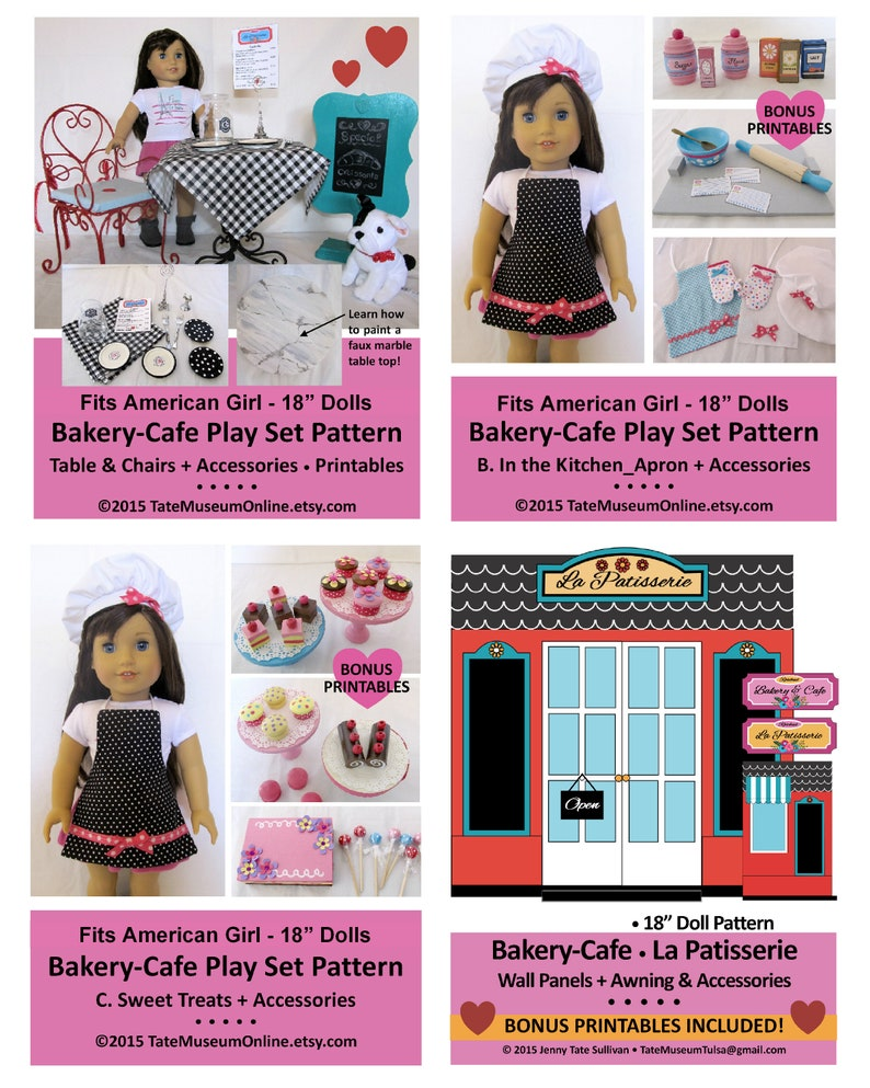 Tremendous 18 Doll Pattern Deluxe 18 Inch Bakery Cafe Play Set Huge Decor Accessories More Bonus Guide Printables Digital Download Pdf Download Free Architecture Designs Scobabritishbridgeorg