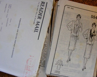 1980's Misses Long Sleeve Straight Dress Loose Fitting Uncut Mail Order Sewing Pattern 5548 Size 8 10 12 14 16 18