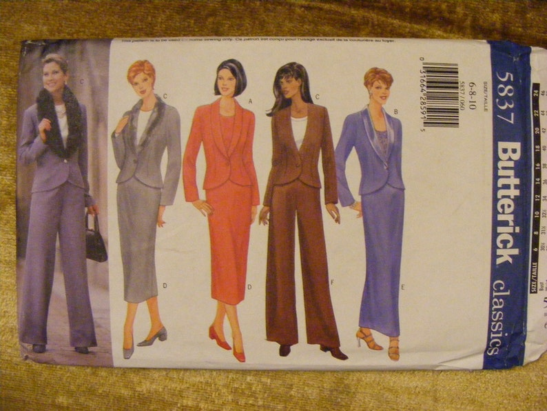 Pants Uncut Butterick Sewing Pattern 5837 Size 6 8 10 Misses/' Fitted  Lined Jacket Skirt