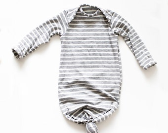 Gray stripe knotted gown 0-3 month