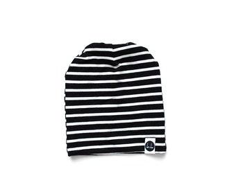 Black and white stripe slouch beanie