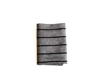Ash Gray and Black Stripe Swaddle Blanket