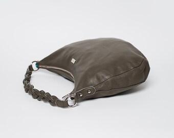 Handbag Spain/ full grain leather/ smoky grey/