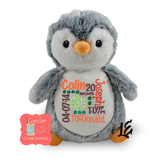Personalized Penguin Stuffed Animal Personalized Baby Gift Etsy