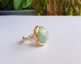 special gift for her by Rebecca Taylor design. round blue stone handcarved ring Blue chalcedony silver /& gold lotus water lily ring