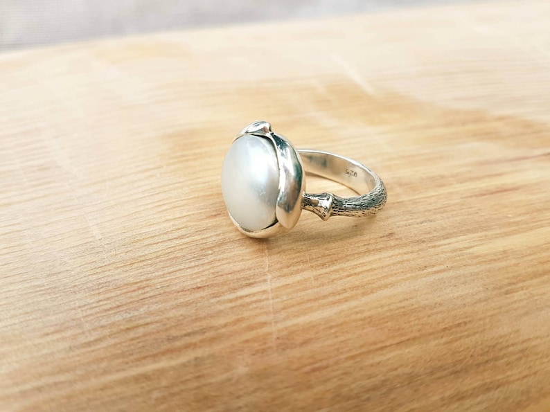 hand carved ring a silver pearl water lily ring a gift for her pearl adorned in silver Large pearl silver ring ~ lotus flower ring