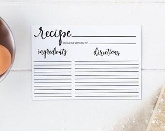 editable recipe card recipe card printable 4x6 recipe card template bridal shower recipe card with calligraphy instant dowload