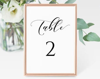 Wedding Table Numbers Printable, Printable Table Numbers, Calligraphy Table Numbers, 5x7 Table Numbers Instant Download. WC3