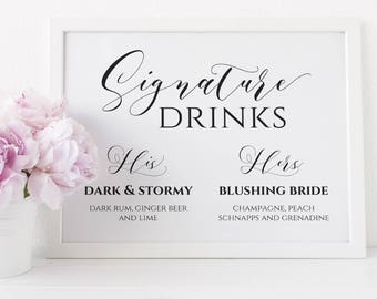 Signature Drinks Sign Printable, Editable Signature Drinks Sign, Wedding His and Hers Drink Sign. Calligraphy Bar Sign. Instant Download WC3