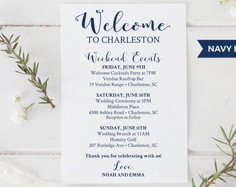 wedding welcome bag printable editable wedding itinerary etsy
