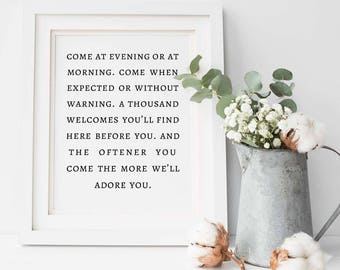 Irish Blessing Come At Evening or At Morning Printable, Irish Blessing Sign, Guest Room Decor, Welcome Wall Art. Art Print Instant Download