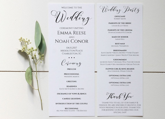wedding program printable wedding program template editable etsy