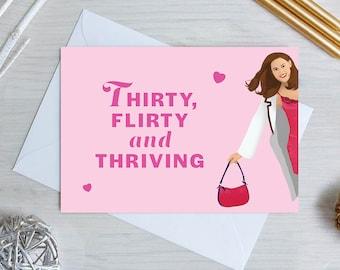 13 Going On 30 Birthday Card | 30th Birthday Card | 30th Card | 30th Birthday Card For Her | Thirty Flirty and Thriving | 30 Birthday Card