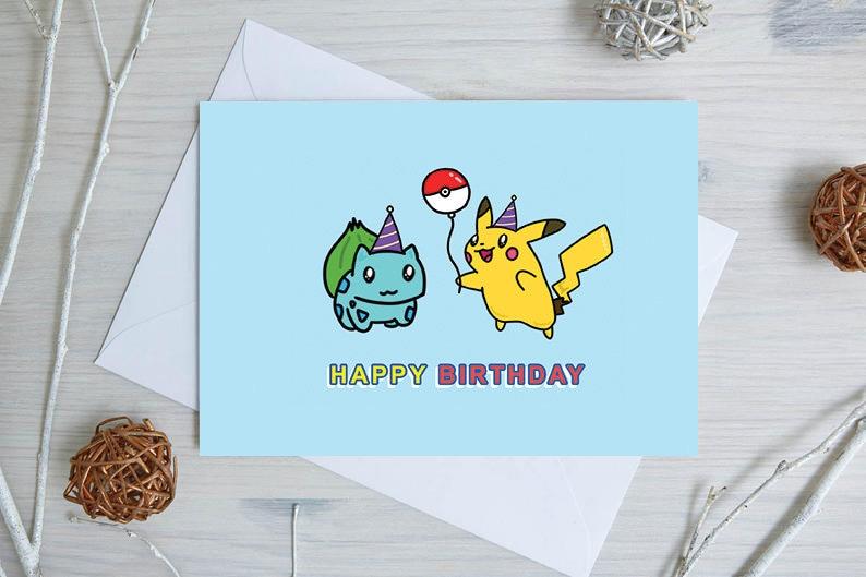Pokemon Birthday Card Happy Cute