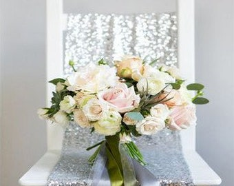 """Silver Glitz Sequin Table Runner 12"""" x 108"""". Reception, Bridal shower, Rehearsal Dinner, Sweetheart table, Birthday Party, 25th Anniversary"""