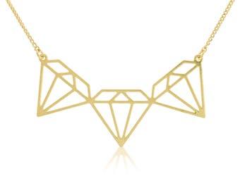 Diamonds Shape Necklace, Diamonds Pendant, Gold Plated Jewelry, Short Gold Necklace, Gold Chain Necklace, Casual Necklace, Women Necklaces