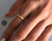 Vintage Style Gold Plated Signet Ring For Women, Valentines Gifts