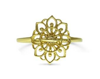 Flower Ring, Mandala Flower Ring, Gold Floral Ring, Unique Flower Ring, Bohemian Ring, Boho Ring For Women, Ethnic Ring, Gold Ring For Women