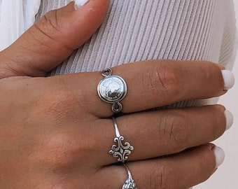 Silver Coin Ring, Sterling Silver Signet Ring For Women, Womens Coin Ring, Siegelring Damen, Ladies Signet Ring, Boho Ring