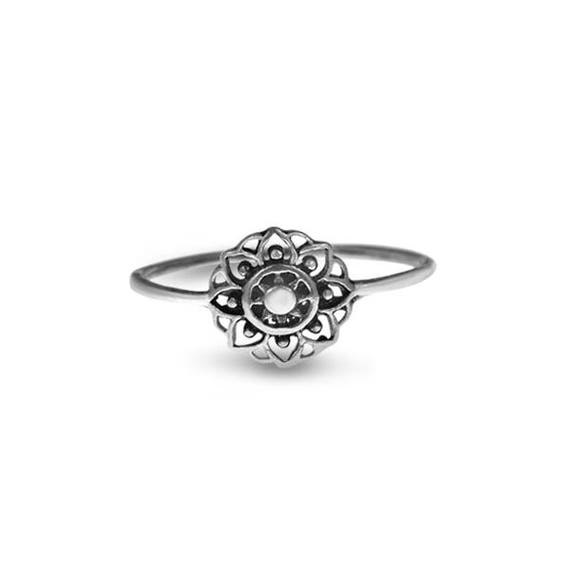 Sterling Silver Flower Ring Silver Floral Dainty Ethnic Ring