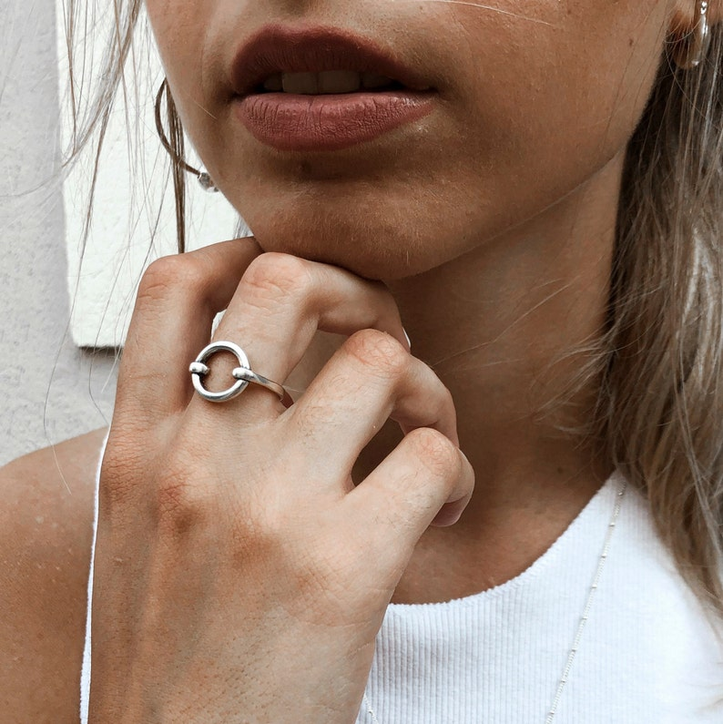 Valentines Gifts For Women Silver Circle Ring Silver Statement Ring Geometric Ring Rings For Women Statement Circle Ring