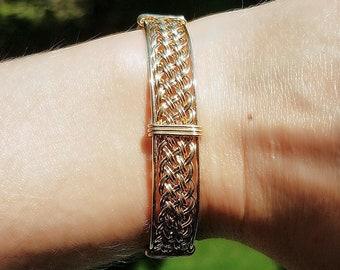 """8"""" 14kt Gold Filled Woven Wire Wrapped Bracelet, Handmade 14/20 Gold Filled Bangle, Hand Woven Wire, Gold Cuff Bracelet, Elegant Bracelet"""