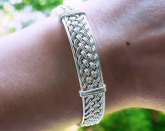 """8"""" Argentium Silver Woven Wire Wrapped Bracelet, Handmade Silver Bangle Bracelet, Hand Woven Wire, Silver Cuff Bracelet, Elegant Bracelet"""