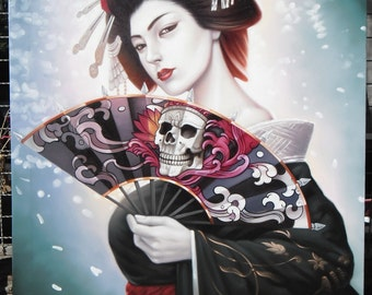 "Geisha painting oil painting on canvas 32""X48"""