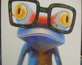 """Colorful Frog painting oil painting on canvas 40""""X40"""""""