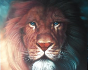 "Lion painting oil painting on canvas 40""X40"""
