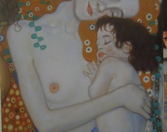 """Mother and Child - Gustav Klimt - Reproduction painting oil painting on canvas 24""""X32"""""""