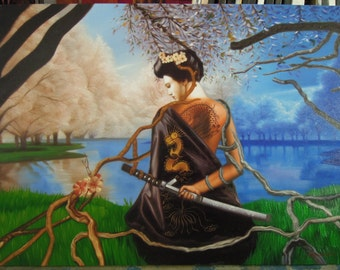 "Samurai painting oil painting on canvas 36""X48"""