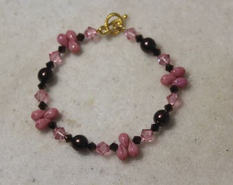 Brown and Pink Crystal and Glass Pearl Braclet